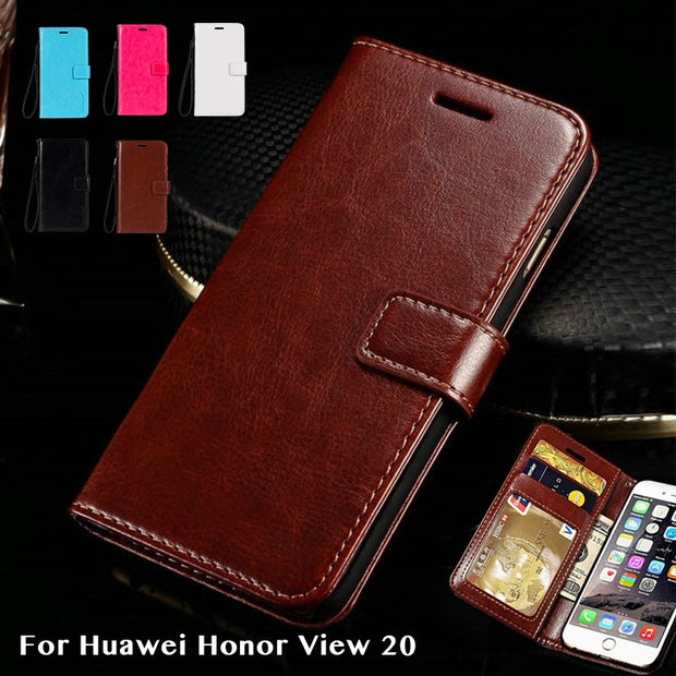 Pu Leather Case For Huawei Honor View 20 Business Phone Case For Huawei Honor View 20 Flip Book Case Soft Silicone Back Cover