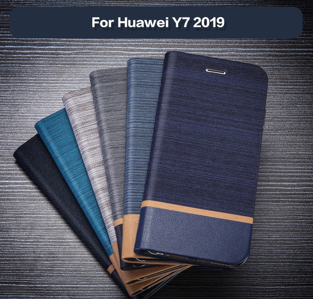 Pu Leather Wallet Case For Huawei Y7 2019 Business Phone Case For Huawei Y7 2019 Flip Book Case Soft Tpu Silicone Back Cover