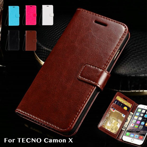 Pu Leather Wallet Case For TECNO Camon X Business Phone Case For TECNO Camon X Flip Book Case Soft Tpu Silicone Back Cover