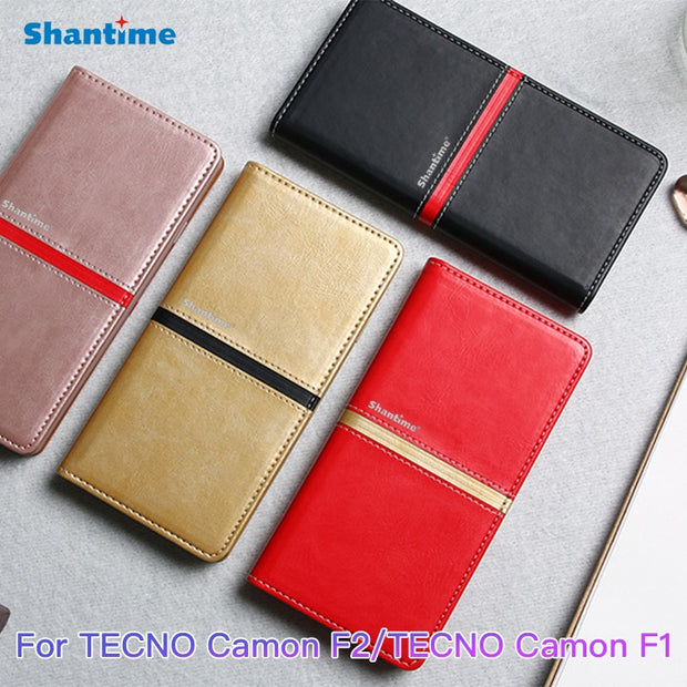 Pu Leather Wallet Phone Bag Case For TECNO Camon F2 Flip Book Case For TECNO Camon F1 Business Case Soft Tpu Silicone Back Cover
