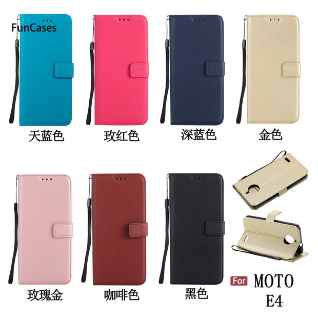 Pure Color PU Leather Case SFor Capa Moto E4 Soft Silicone Back Cover Cellular Vintage Flip Case For Motorola E4 Phone Shell