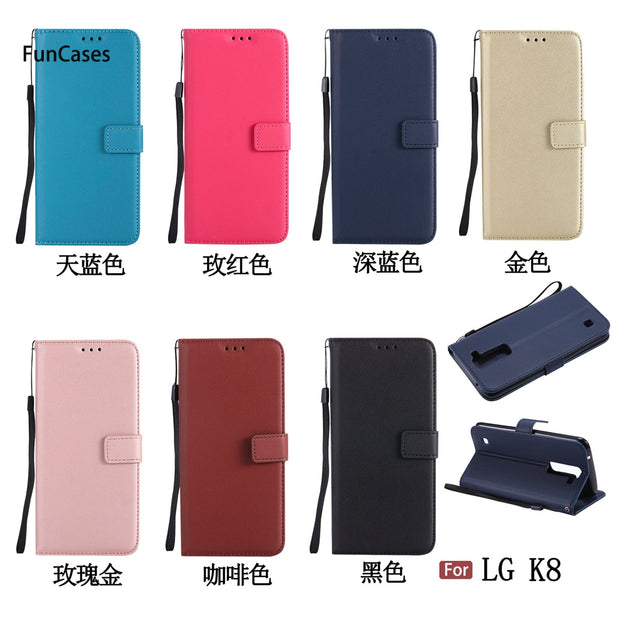 Pure Color PU Leather Case SFor Cellular LG K8 Soft Silicone Back Cover Protect Marble Phone Case For LG K350N Deloque Buckle