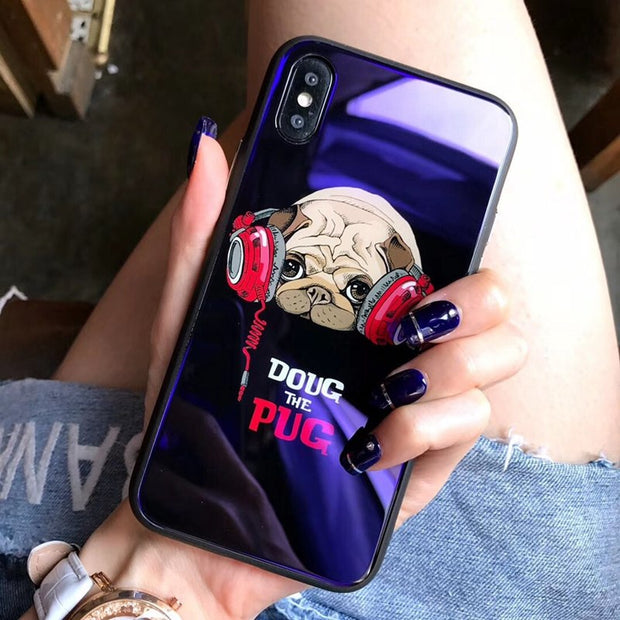 Purple Ray For Iphone 7 X 8 6 Phone Case Glass Imd Cute Dog Glass Case For Iphone 6 8 Plus Cases