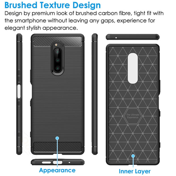 Qosea For Sony Xperia 1 Case Carbon Fiber Anti-fall Black TPU Skin For Sony Xperia 1 Protective Phone Back Capa Protection Cover
