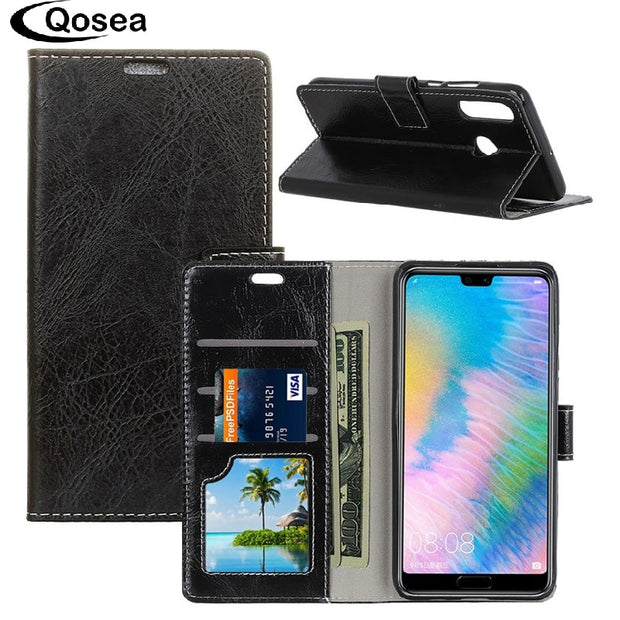 Qosea Luxury For Huawei P30 Lite Case Anti-fall Plain Leather Stand Protective Phone Case For Huawei P30 Lite Bag Back Cover