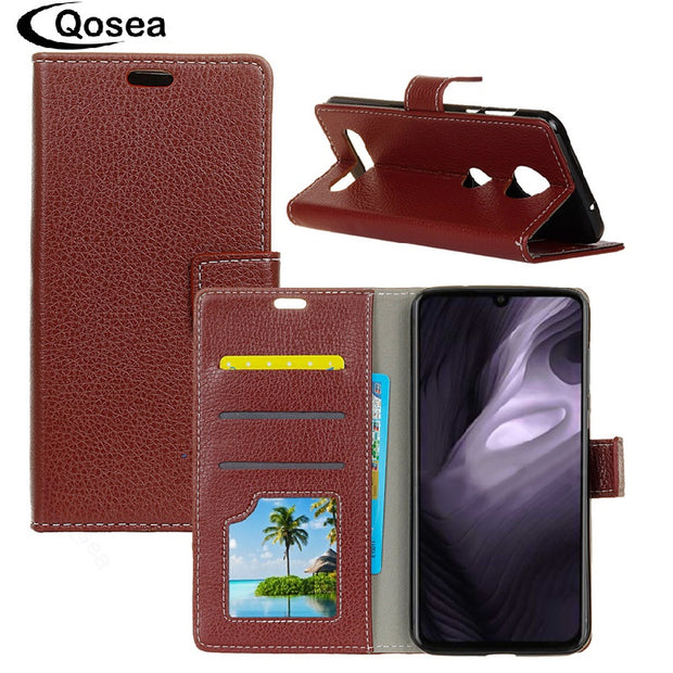 Qosea Luxury For Motorola Moto Z4 Play Case Anti-fall Leather Stand Protective Phone Case For Moto Z4 Play Bag Back Cover