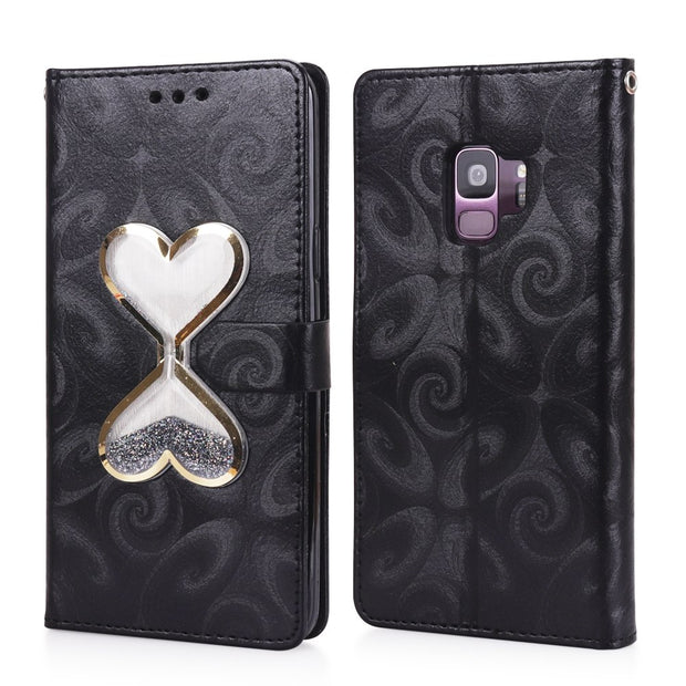 Quicksand Magnetic Flip Heart Style Wallet Case For Galaxy S5 S6 S7 Edge Leather 2 Card Slots Bag For Samsung Galaxy S8 S9 Plus