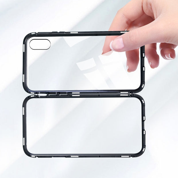 RDCY Metal Magnetic Case For IPhone X XR Tempered Glass Magnet Adsorption Case For IPhone 8 7 Plus Glass Back Cover Bumper