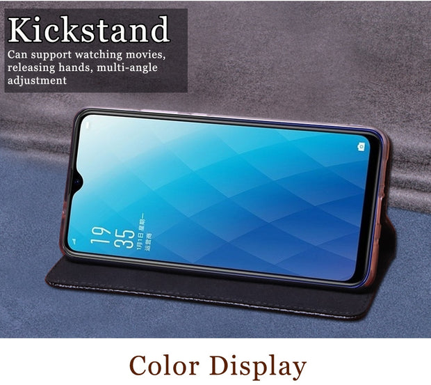 RYKKZ Luxury Leather Flip Cover For OPPO F9 Mobile Stand Case For OPPO A7x F9 Leather Phone Case Cover