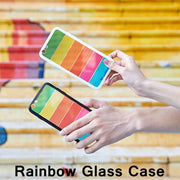 Rainbow Glass Case For Iphone 7 8 Plus Iphone 8 7plus Clear Silicone Candy Color Hard Cover For Iphone 6 6s Plus Iphone X Cases