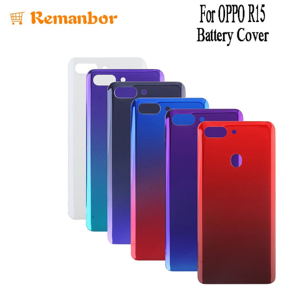 Remanbor For OPPO R15 Battery Cover With Radiating Film Replacement Slim Protective Battery Case For OPPO R15 Phone Accessory