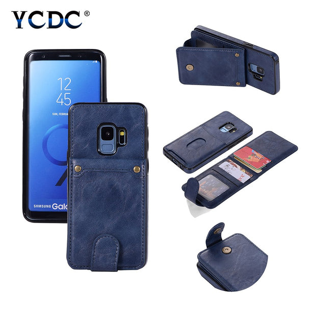 Removable Wallet Premium Leather Case For Samsung Galaxy S9 Plus S8 Plus S7 Magnetic Buckle Closure