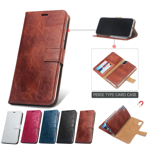 Retro Case For IPhone 6 7 8Plus X XR XS MAX Card Wallet Case Detachable Cover PU Card Cover Luxury Business Leather Crazy Ma Wen