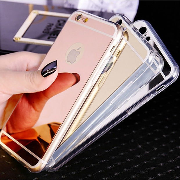 Retro Luxury Clear TPU Frame Bling Mirror Cover For Iphone 6 6S Plus Gold Silver Super Slim Flexible Soft Case For Iphone6S 5.5
