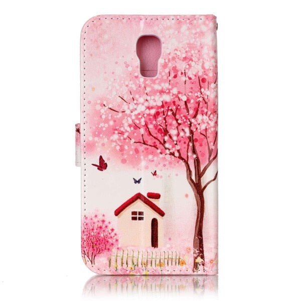 Retro Cartoon Owl Flower Tree Butterfly Wallet Card Pu Leather Stand Holder Case Cover For LG X Screen K500N X View K500DS