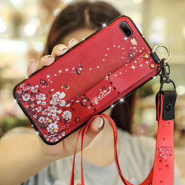 Rheinruby Diamond Bling Relief Flower Silicone Case For IPhone X XS XR XS Max 6 6S 7 8 Plus Mi 6x 8lite Wristband Back Cover