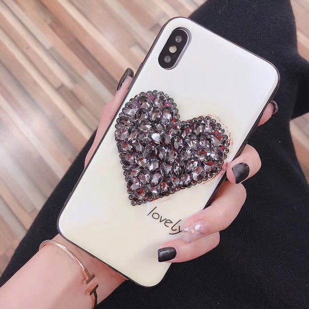 Rheinruby Diamond Rhinestone Tempered Glass Case For IPhone 6S 7 8 Plus XS XR XS Max Mate 20 P20 P10 Plus Mate 20 X Cover Coque