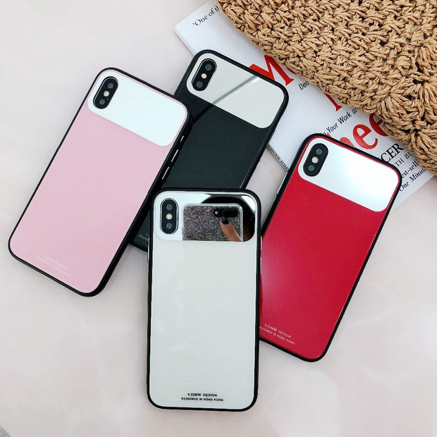 Rheinruby Mirror Tempered Glass Case For IPhone XR XS Max X 6S 7 8 Plus XS Cases Cute Girls Soft Frame Protective Cover Coque