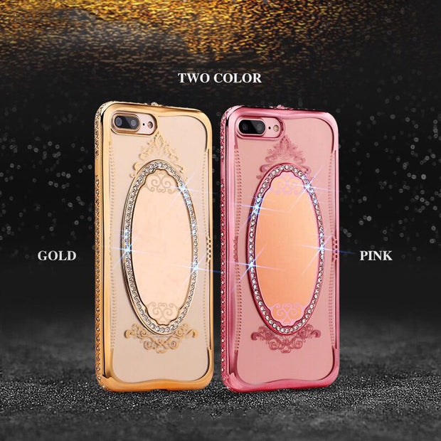 Rhinestone Case For IPhone 6 6S 7 Plus Coque Hybrid Back Cover Soft Clear Silicone For IPhone 6 6S Phone Mirror Cases Artisome