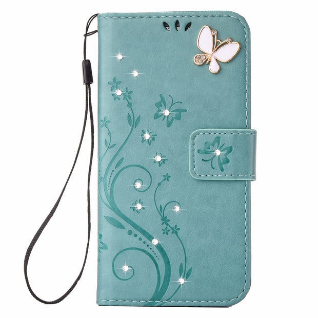 Rhinestone Flower Butterfly Wallet Case For Samsung Galaxy A3 A5 2017 A520 Bling Diamond Leather Cover For Samsung S8 S8 Plus