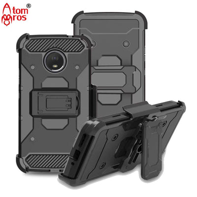 Rugged Shockproof Shell With Belt Swivel Clip Armor Hard Case For Motorola Moto E4 / E4 Plus Cover Kickstand Protective Skin