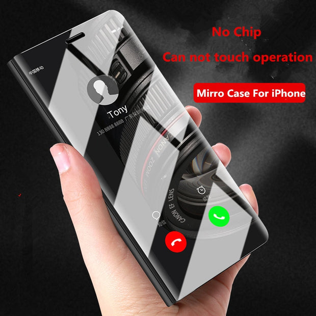 SHUOHU Luxury Case For IPhone 8 7 6 6 S Plus Ultra Slim Mirror Smart Case For IPhone 8 IPhone 7 Cover Phone Holder For IPhone X