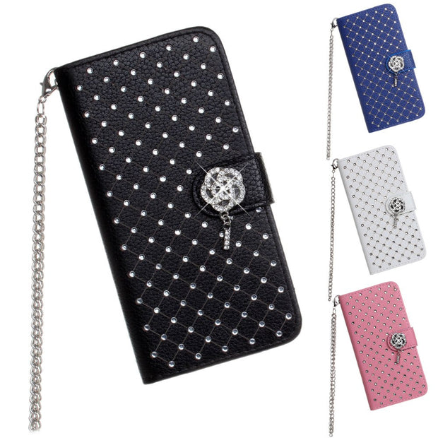 SZHAIYU Luxury Bling Rhinestone Diamond Glitter Leather Flip Wallet Case Cover For Apple IPhone 8 7 6 6S Plus Women Case