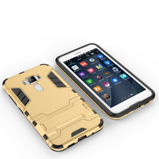 Shockproof Iron Man Design Shield Holder Stand Mobile Back Bag Cover Shell Case For ASUS Zenfone 3 ZE520KL ZE552KL