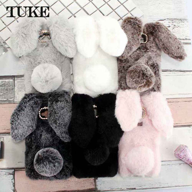 Silicon Case For BQ U Plus Cases Rabbit Hair Bling Diamond For BQ Aquaris U Plus Soft TPU Cute Anti-knock Cover