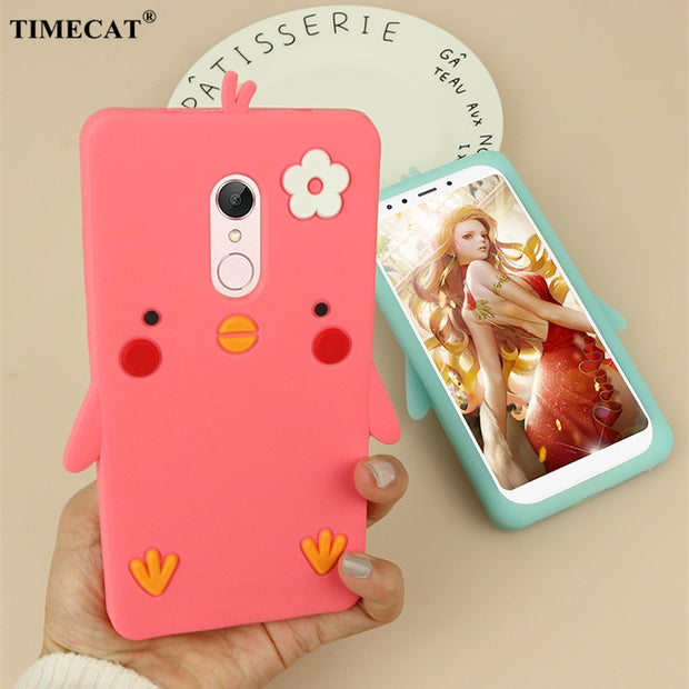 Silicon Protective Back Cover For Xiaomi Redmi 5 Plus Case With 3D Chick Shock Proof Phone Bag Shell