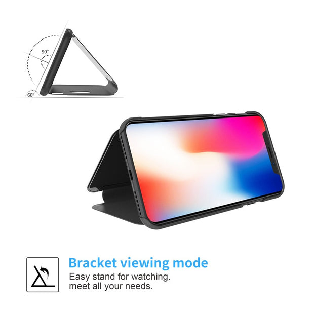 Smart Flip Stand Mirror Case For Iphone XS Max Case Clear View PU Leather Cover For Iphone XR Case IphoneXS Max