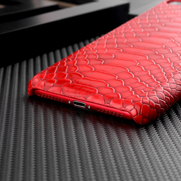 Snake Skin PU Leather Case For Iphone 8 7 Plus Iphone XS Max XR Hard PC Phone Bag Case For IPhone 6 6s Plus Iphone 7 X 10 Cover