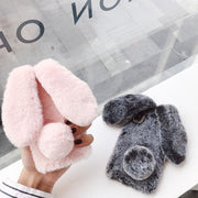 Snzvok Cute Rabbit Hairy Phone Case For IPhone 6 6S 7 8 Plus X XR XS Max 5 5S SE Bling Rhinestone Plush Bunny Cover For Girls