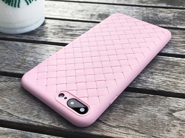 Solid Color Woven Leather Case For IPhone X XR XS Max Anti-fall Holster Case For Iphone 8 7 6 6s Plus