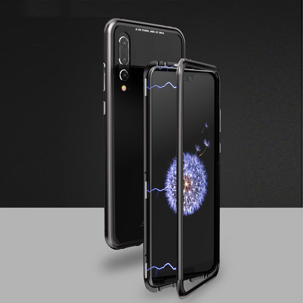 Stable Performance Magnetic Adsorption Metal Case Cover + 9H Tempered Glass For Huawei P20 Pro 18#914