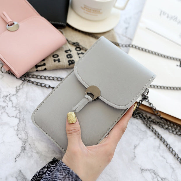 Stylish Transparent Phone Wallet Bag For Coin Credit Cards Crossbody Case Cover Touch Screen Phone Bag With Strap Long Chain