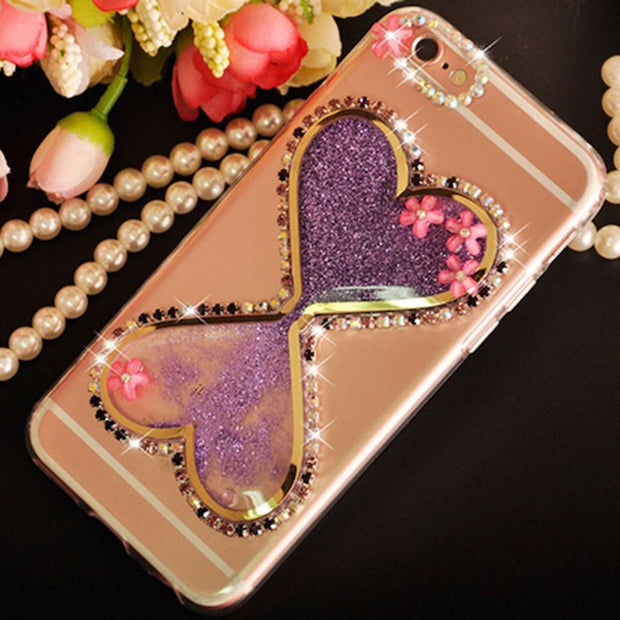 Sunjolly Bow Diamond Case Quicksand Bling Rhinestone Cover Coque For Samsung Galaxy J3 J5 J7 2016 2017 J4 J6 J8 2018 J530 J510