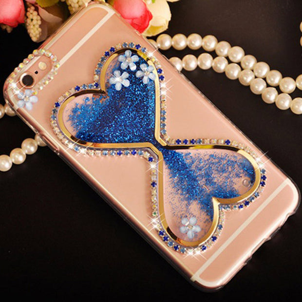Sunjolly Bow Diamond Case Quicksand Rhinestone Cover Coque For Samsung Galaxy S9/ S8/S8 Plus S7/S6 Edge Plus S5 S4 Note 9 8 5 4