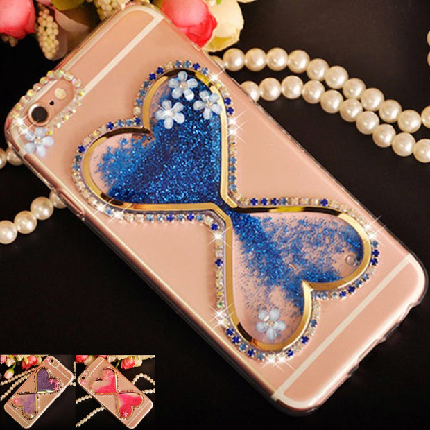 Sunjolly Phone Case For Huawei P8 Lite 2017 Quicksand Bling Rhinestone Flower Cover Coque For Huawei P9 Lite 2017 /Plus/Mini