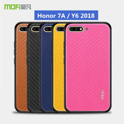 "Super Soft Phone Case For Huawei Y6 2018 ATU-L21 MOFI Luxury Grid Weaving Cases For Huawei Honor 7A 5.7"" Silicone Accessories"