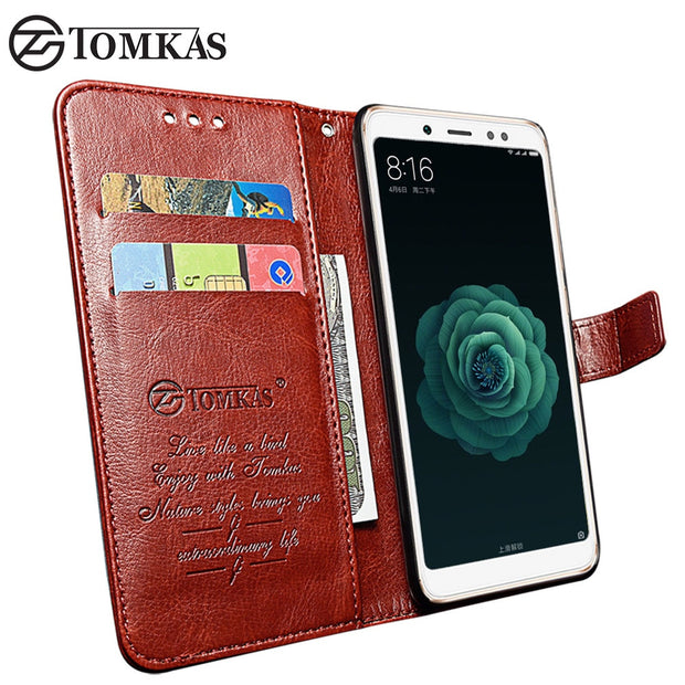TOMKAS Wallet Case For Xiaomi Mi 6X A2 Case Leather Flip Card Pocket Phone Holder Cover For Xiaomi Redmi Note 5 5 Pro Coque