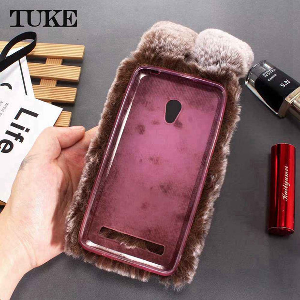TUKE Cover For Asus Zenfone 5 Lite ZC600KL Zenfone V Live V500K Phone Cases Fluffy Plush Warm Cover TPU Fur Rabbit Diamond Case