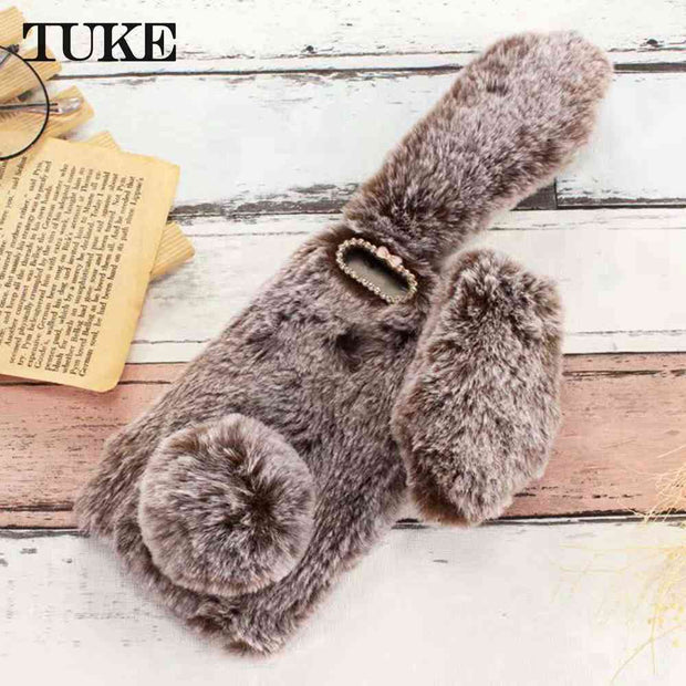 TUKE Cover For Huawei P Smart Y9 2018 Enjoy 8 Plus Nova Plus Maimang 4 5 Phone Cases Fluffy Plush Warm Cover TPU Fur Rabbit Case