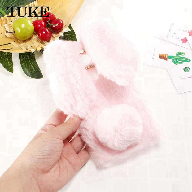 TUKE Cover For Sony Xperia L2 XA1 Plus XA1 XA XA2 Ultra C6 L1 XZ1 XZ2 Compact Z6 XZ Premium XR M5 Phone Cover TPU Plush Rabbit