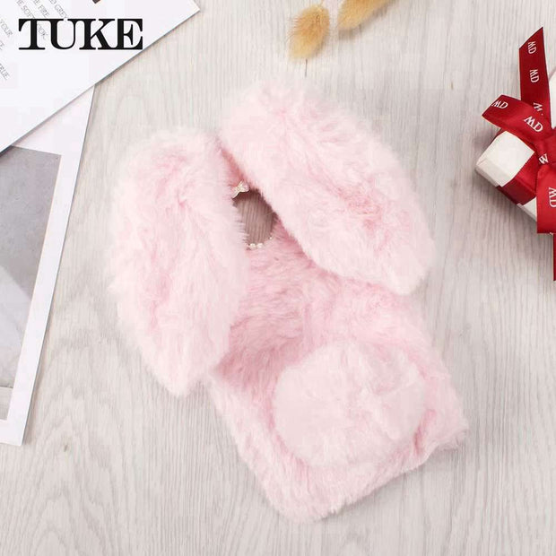 TUKE Cute Bunny Plush Case For Motorola Moto E4 Plus US Version Case Soft TPU Silicone Rabbit Furry Cover Housing Case