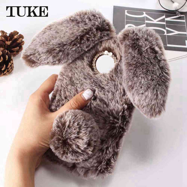 TUKE Cute Bunny Plush Case For Motorola Moto Z3 Play Case Soft TPU Silicone Rabbit Furry Cover Housing Case