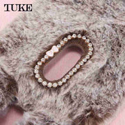 TUKE Fluffy Plush Warm Phone Cases For Xiaomi Redmi 5 Plus RedRice5 Plus Funda Housing Fur Rabbit Diamond Cover Soft Silicone