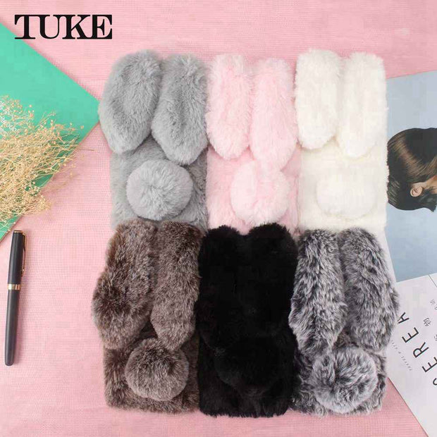 TUKE Silicon Cases For Huawei Honor 7X Rabbit Hair Bling Diamond Anti-knock Bag Cover For Huawei Honor7X Shell