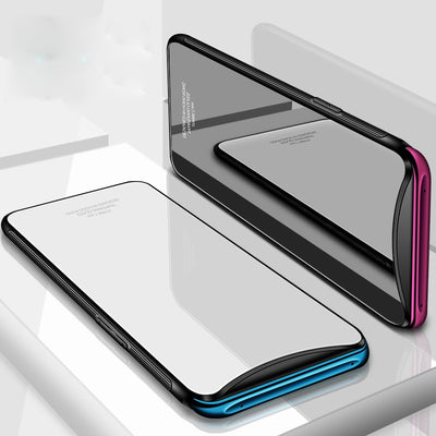 Tempered Glass Case For OPPO Find X Hard Back Cover For OPPO FindX Soft Silicone Bumper On For OPPO Find X Case + 3D Glass Film