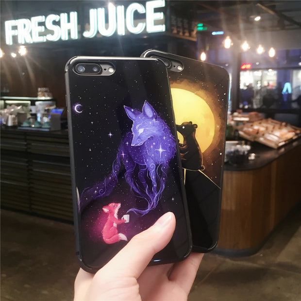 Tempered Glass Phone Cases For Apple Iphone 7 8 Plus X 6s 6 Plus Fox Bear Cartoon Tempered Glass Case Cover Shells Fundas Coques